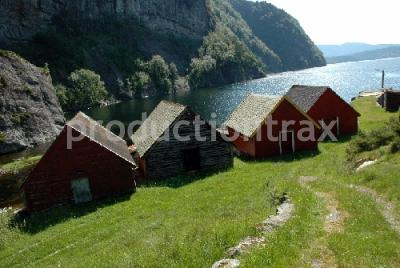 Boathouses by fjord 5